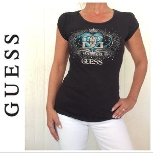 GUESS BLING BLACK GRAPHIC T SHIRT LARGE